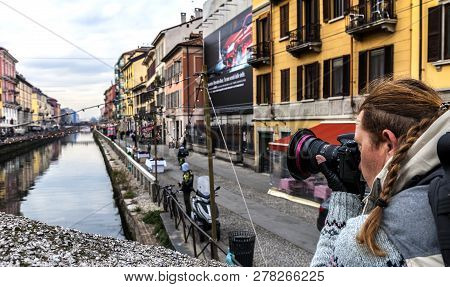 Milan Italy - December 2017: Photographer In Grande Canale District