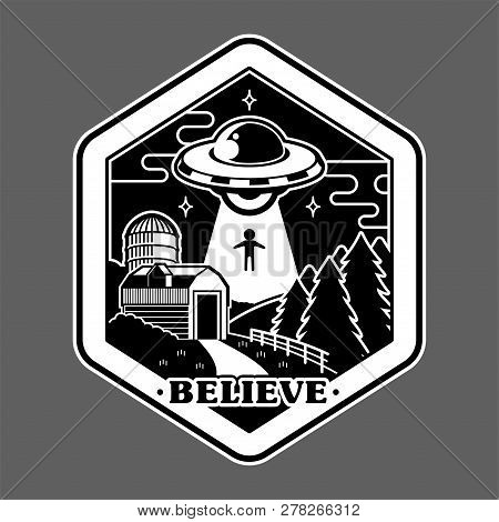 Monochrome Graphic Of Vintage Sticker Patch Pin Print For Clothes T Shirt Poster With Ufo Of Alien I