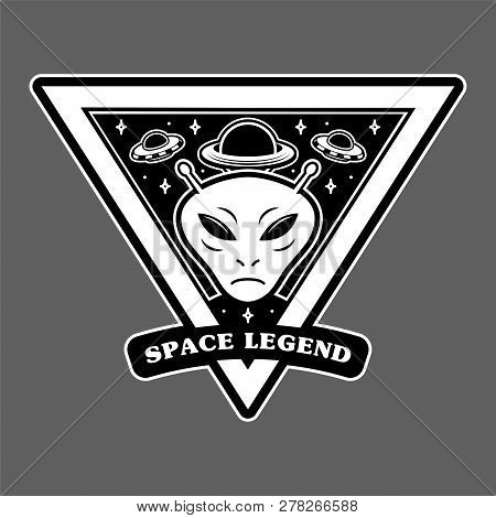 Monochrome Vintage Patch Icon Sticker Pin With Alien Invaders Martian And Big Planet And Ufo Space L