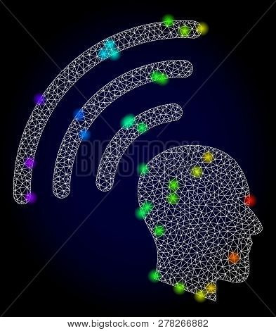 Glossy Polygonal Mesh Telepathy Waves Icon With Glow Effect On A Dark Background. Carcass Telepathy
