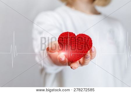 A Young Woman Is Holding A Small Knitted Heart In Her Hand With The Cardiologic Line Going Across. T