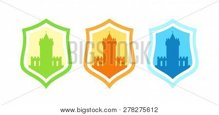 Vector Badges With Medieval Stronghold Castles Different Colors Isolated On White - Coat Of Arms And