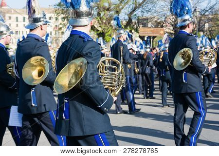 Corfu, Greece - April 7, 2018: Philharmonic Musicians Playing In Corfu Easter Holiday Celebrations.
