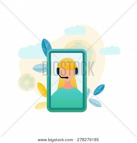 Vector Illustration Call Center Customer Service. Image Girl Phone Operator Advice Online Store. Tec