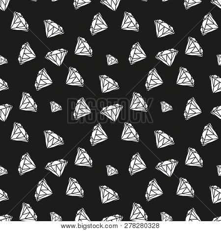 Diamonds Seamless Pattern. Vector Pattern With Diamonds. Seamless Pattern Can Be Used For Wallpaper,
