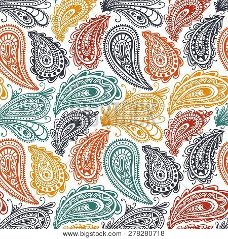 Paisley Seamless Pattern. Ornament For Textiles Drawn In The Style Of The Doodle. Ethnic And Tribal