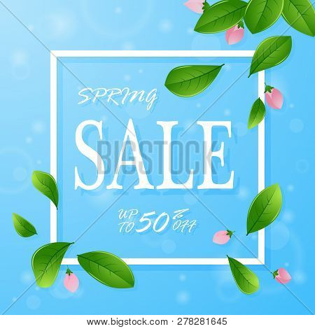 Spring Sale Banner Template With Flowers On Blue Background. Card For Spring Season With Flowers. Pr