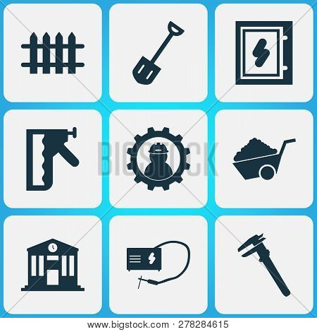 Industry Icons Set With Construction Stapler, Working, Calipers And Other Vernier Elements. Isolated
