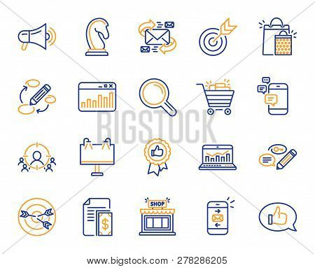 Marketing, Research Line Icons. Set Of Strategy Target, Feedback, Advertisement Campaign Icons. Rese