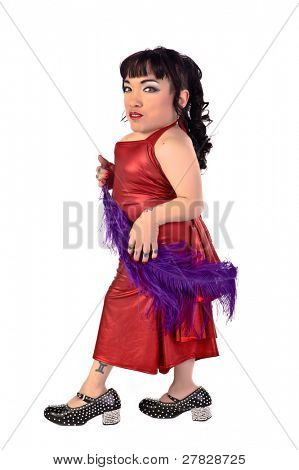 Little person in a red dress with a purple feather