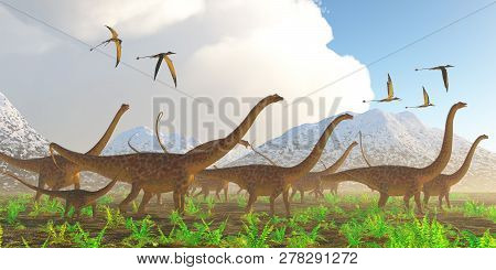 Diplodocus Dinosaur Migration 3d Illustration - A Herd Of Diplodocus Sauropod Dinosaurs On Their Yea