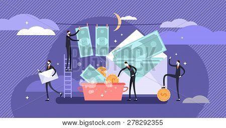 Corruption Vector Illustration. Flat Tiny Persons Cash Money Laundering Concept. Finance Economical