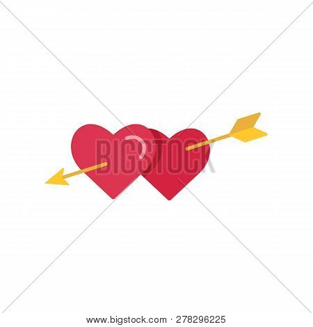 Two Hearts Pierced With Arrow. Symbol Of Love, Passion, Intimacy And Relationships. Graphic Or Web E