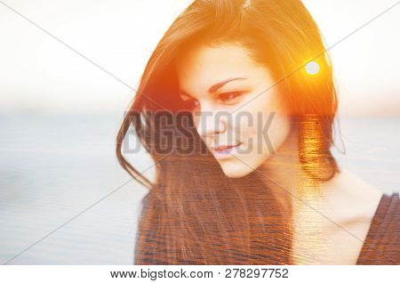 Double Multiply Exposure Portrait Of A Dreamy Cute Beautiful Smart Woman Outdoors, Combined With Pho