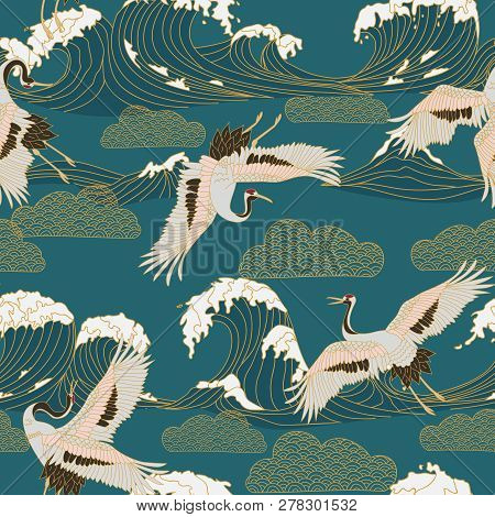 Japanese Storks In Vintage Style On Blue Background. Oriental Traditional Painting. White Stork. Jap