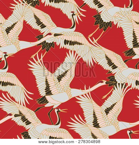 Japanese Japanese Stork Or Pattern. Oriental - Japanese - Seamless Pattern. Crane, Stork, Heron. Fly