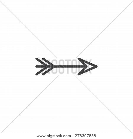 Archery Arrow Line Icon. Linear Style Sign For Mobile Concept And Web Design. Right Direction Arrow