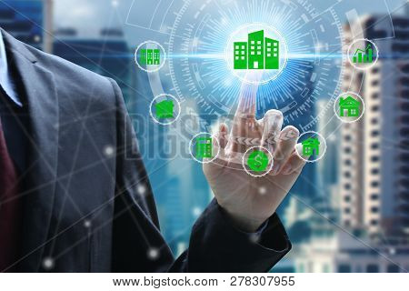 Finger Touch With Property Investment Icons Over The Network Connection On Property Background, Prop