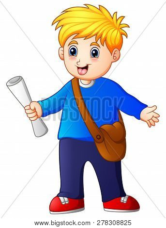 Cartoon Cute Little Kid Boy Selling Newspapers