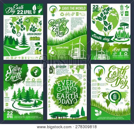 Earth Day Eco Banner Of Save Planet And Go Green Concept. Ecology And Environment Protection, Recycl