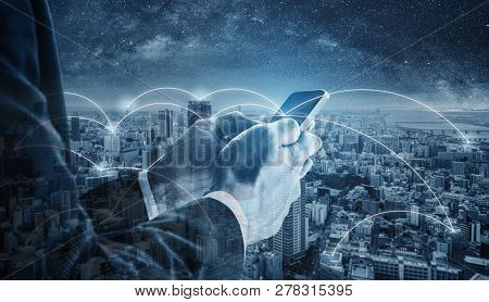 Business Network, Blockchain Technology, Internet Connection And Cloud Technology. Double Exposure B