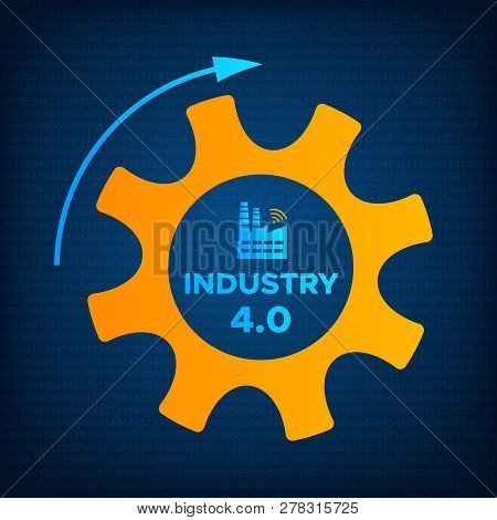 Industry 4.0 Gear And Factory Icon Vector Illustration. Orange Cogwheel And Blue Factory Icon With S