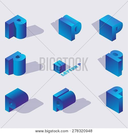 Vector Blue Color Russian Letter Er Or R. 3d In Isometric Style. Design With Shadow, Abstract Colorf