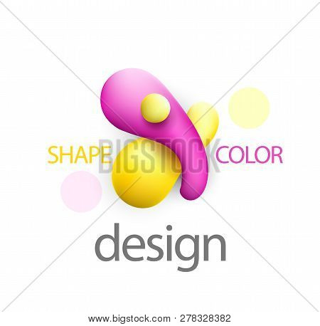 Liquid Vector Colorful Pink Ans Yelow Shapes. Abstract Colorful Vector Object . Stock Vector. Liquid
