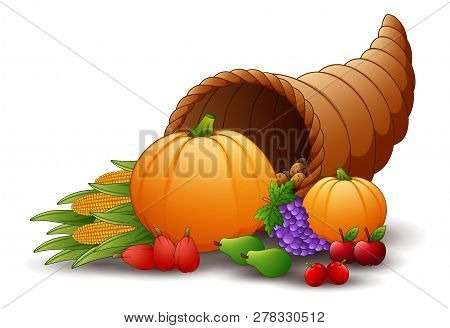 Horn Of Plenty Cornucopia With Fruits And Pumpkins