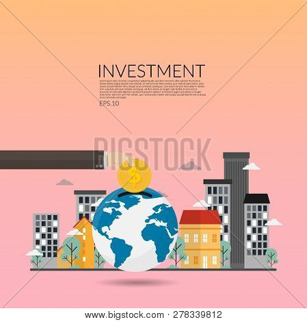 Investment In Real Estate. Creative Vector Of Financial Investments, Marketing, Analysis,financial S