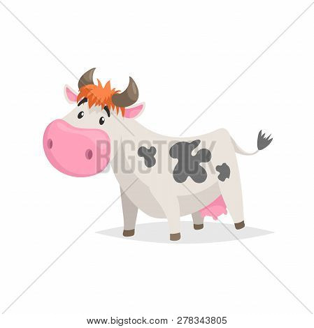 Cartoon White Spotted Cow. Farm Funny Animal Isolated On White Background. Flat Trendy Style. Vector
