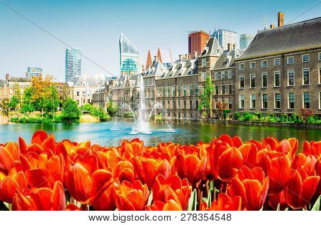 View Of Binnenhof - Dutch Parliament At Spring With Tulip Flowers, The Hague, Holland, Retro Toned