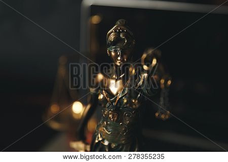 Lady Justice, Themis, The Statue Of Justice In Heaven. Lawyer Court Lawyer Judge Courtroom
