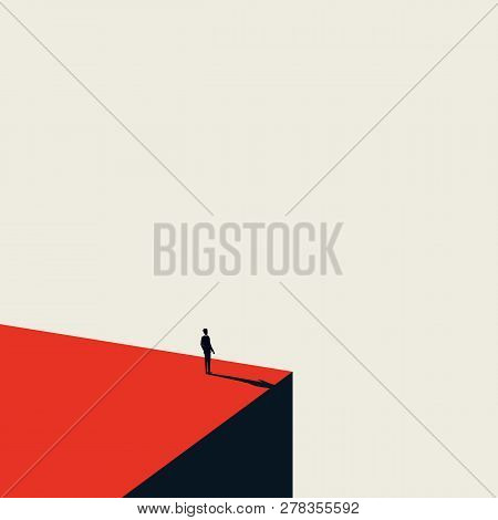 Business Vision And Opportunity Vector Concept In Minimalist Art Style. Businessman Standing On The
