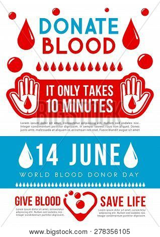 World Blood Donor Day Medical Banner For Transfusion Laboratory Or Clinic Template. Donate Blood Sav