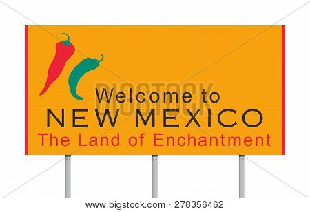 Vector Illustration Of The Welcome To New Mexico Yellow Road Sign
