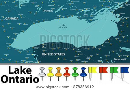 Vector Map Of Lake Ontario With Countries, Big Cities And Icons