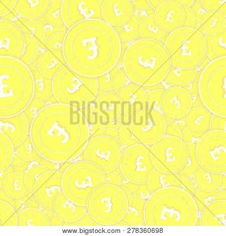 British Pound Gold Coins Seamless Pattern. Beautiful Scattered Yellow Gbp Coins. Success Concept. Un