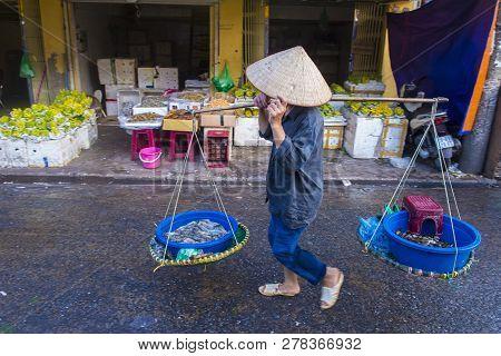 Hanoi , Vietnam - Sep 06 : Vendor In A Market In Hanoi Vietnam On September 06 2018. Markets In Hano