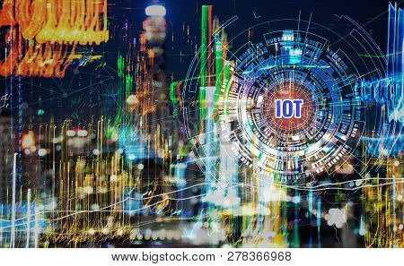 Smart City Digital Iot Network Concept, Building Business With Graphical Interface / Atificial Of In