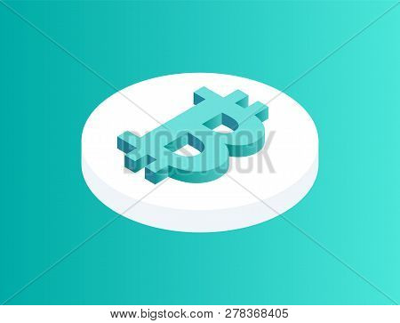 Blockchain Crypto Coin Isolated 3d Icon. Rounded Financial Asset With Bitcoin Logotype On Top. Crypt