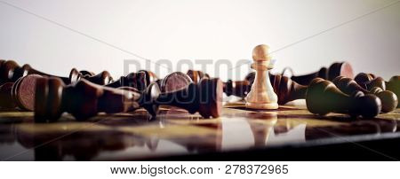 Concept For Victory, Challenge And Diversity With Chess Pieces