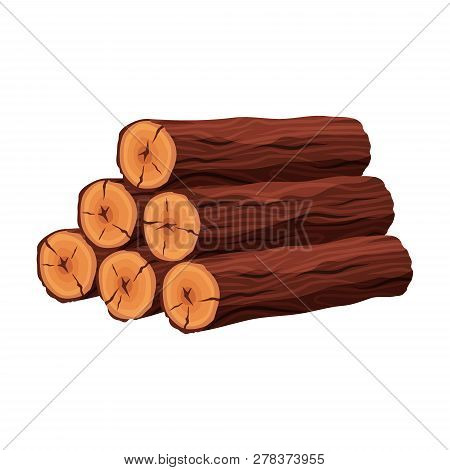 Stack Of Firewood Materials For Lumber Industry Isolated On White Background. Pile Of Wood Logs Tree