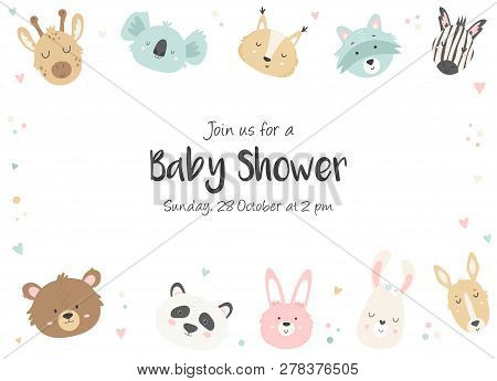 Baby Shower Horizontal Invitation With Cute Hand Drawn Animals. Baby Shower Card Template.
