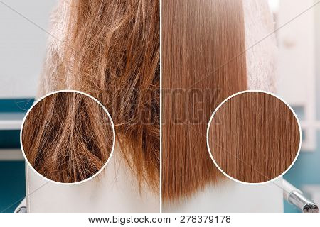Sick, Cut And Healthy Hair Care Straightening. Before And After Treatment.