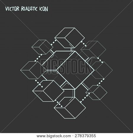 Blockchain Icon Line Element. Vector Illustration Of Blockchain Icon Line Isolated On Clean Backgrou