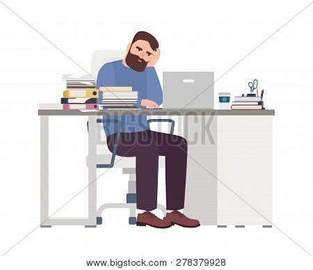 Tired Male Manager Working On Computer. Sad Or Exhausted Bearded Man At Office. Stressful Work, Stre