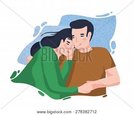 Portrait Of Romantic Couple Against Blue Blot On Background. Boyfriend And Girlfriend Hugging Or Cud