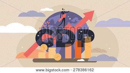 Gdp Vector Illustration.flat Tiny Persons Concept With Gross Domestic Product Per Capita.businessman