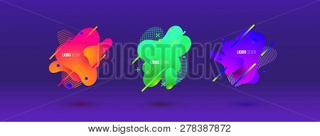 Abstract Design Set Of Liquid Shapes. Fluid Vector Design. Gradient Flyer, Banners With Flowing Liqu